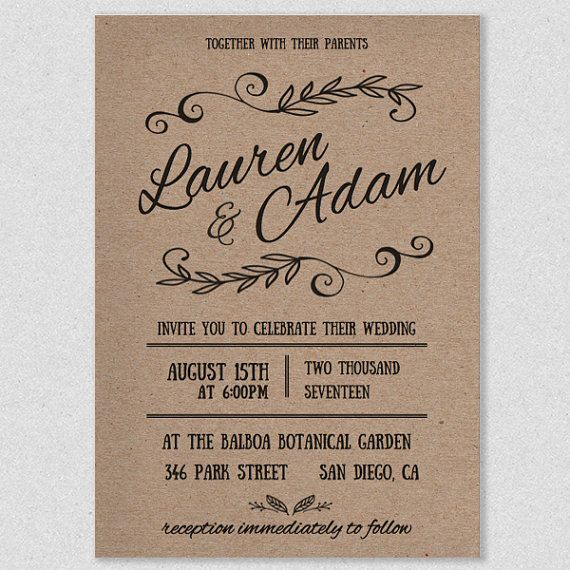Printable Wedding Reception Invitation Templates