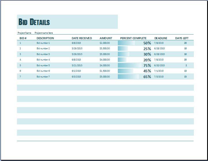 Project Bid Template Excel