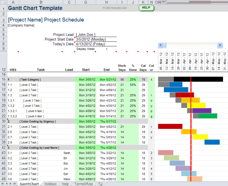 Project Management Excel Gantt Chart Template