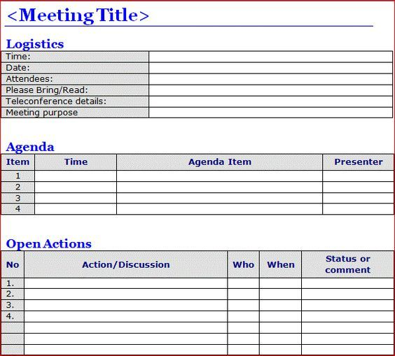 Project Management Meeting Minutes Template Word