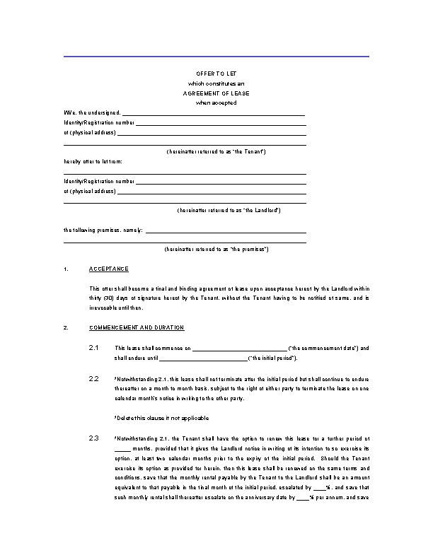 Property Lease Agreement Template Word