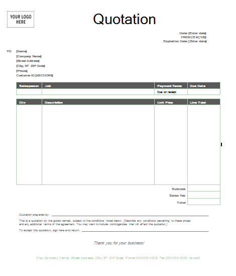 Quotation Form Template Word