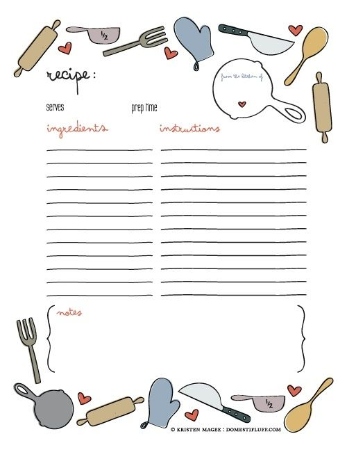 Recipe Template For Cookbook
