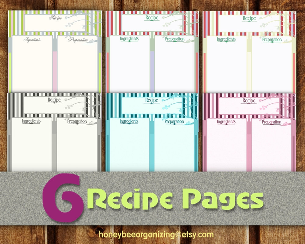 Recipe Pages Instant Download Blank Cooking Book Recipe Templates For Pages