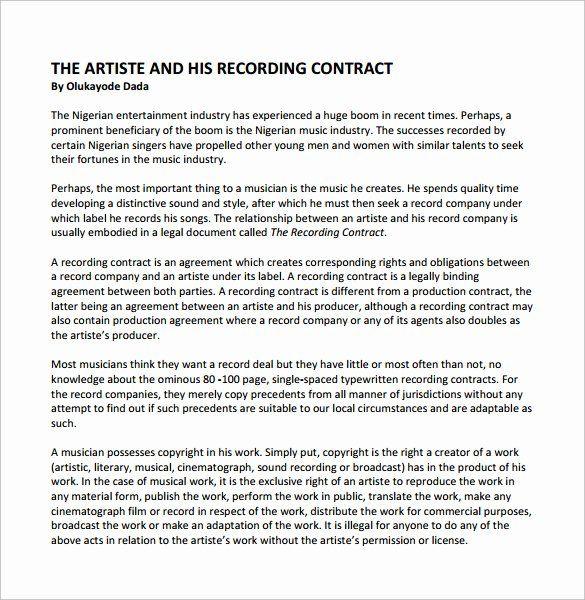 Recording Studio Contract Template