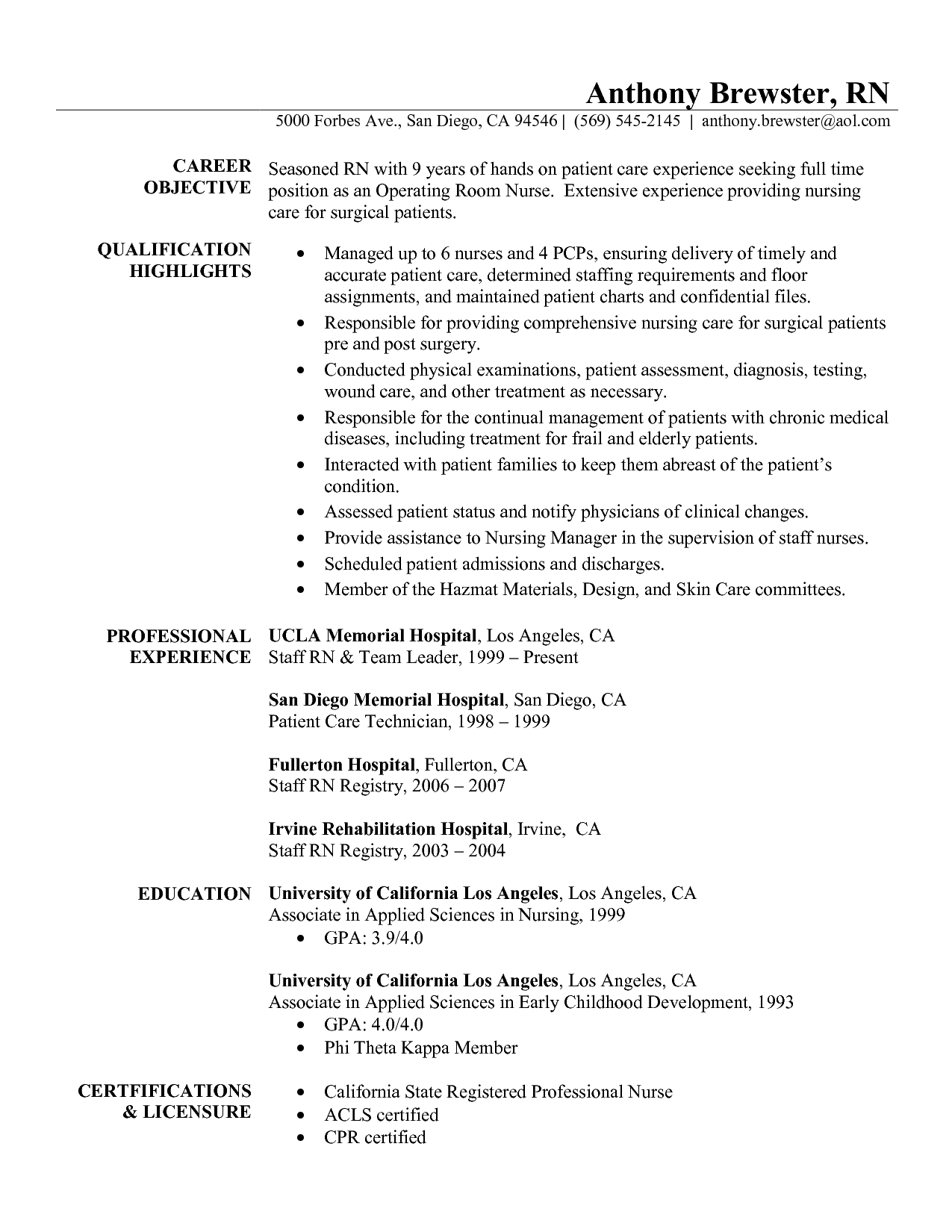 Registered Nurse Curriculum Vitae Template Nursing