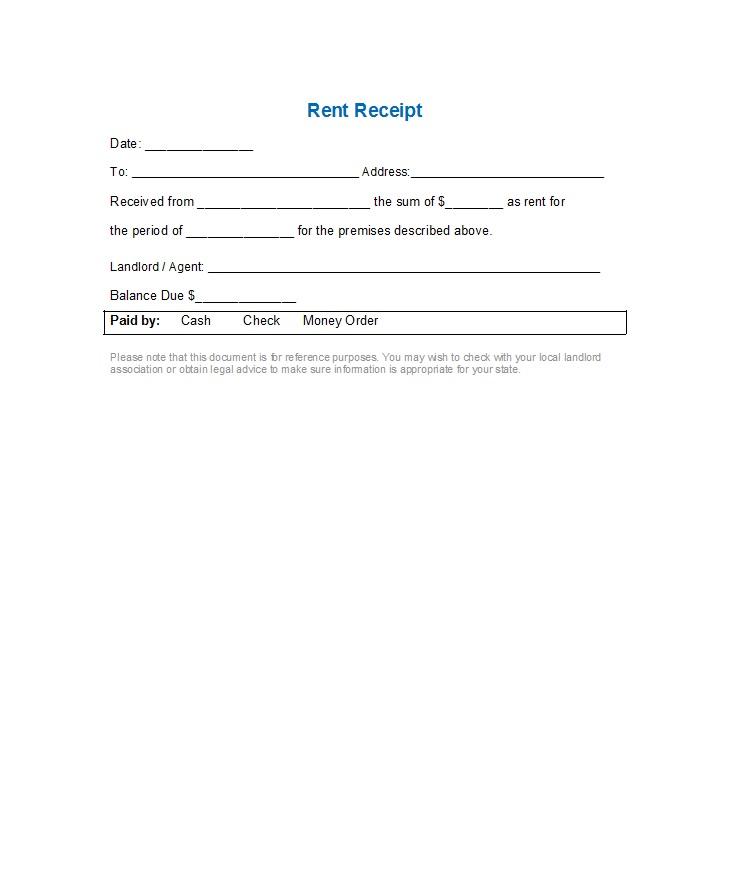 Rent Receipts Templates