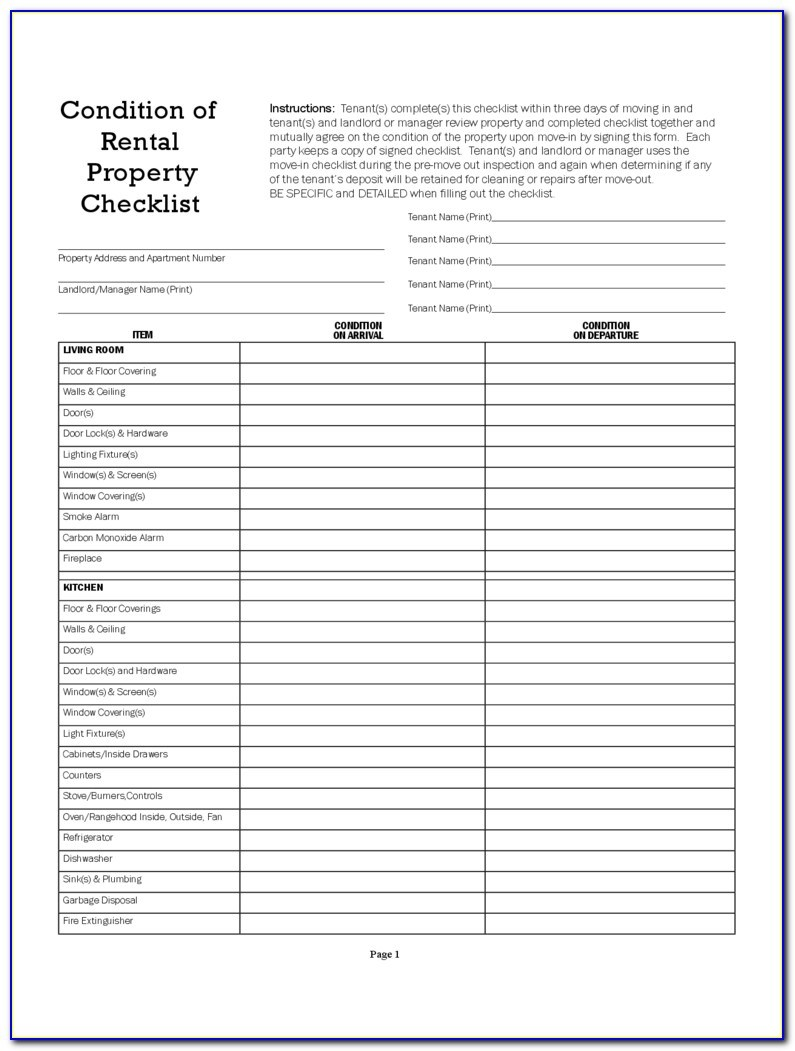 Rental Property Inspection Checklist Template