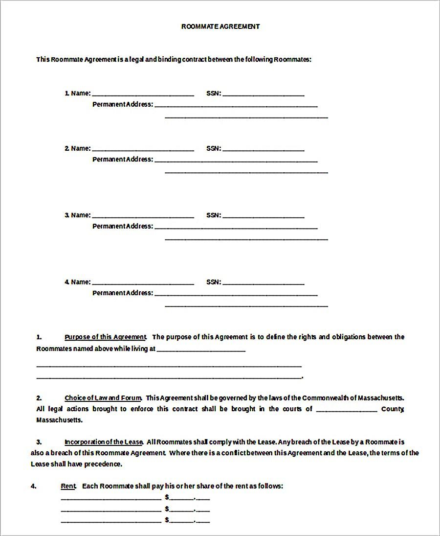 Room Rental Agreement Roommate Agreement Template Free Download