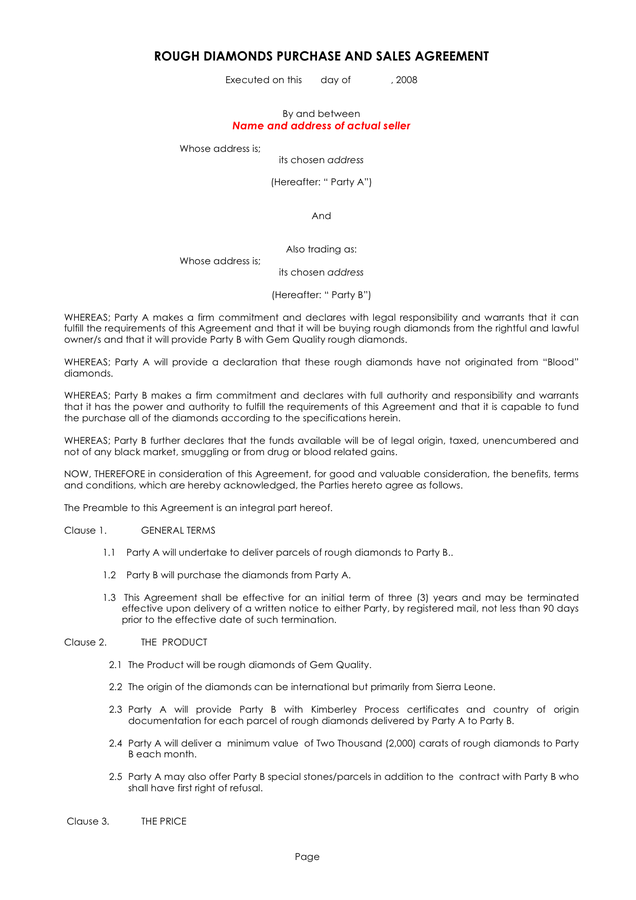 Sales And Purchase Agreement Template Word