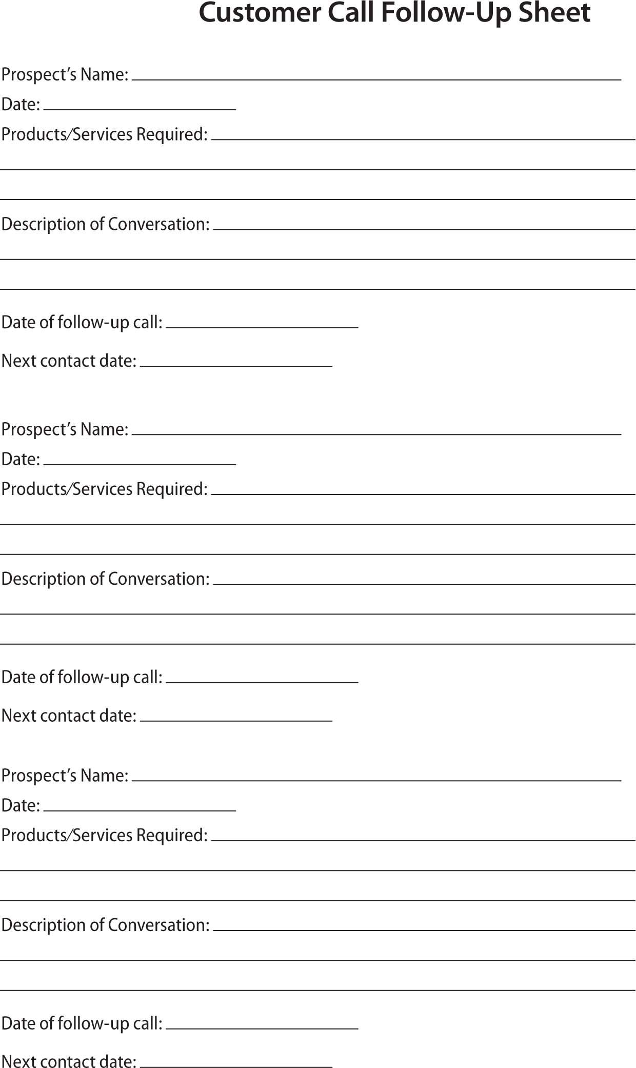 Sales Prospect Sheet Template