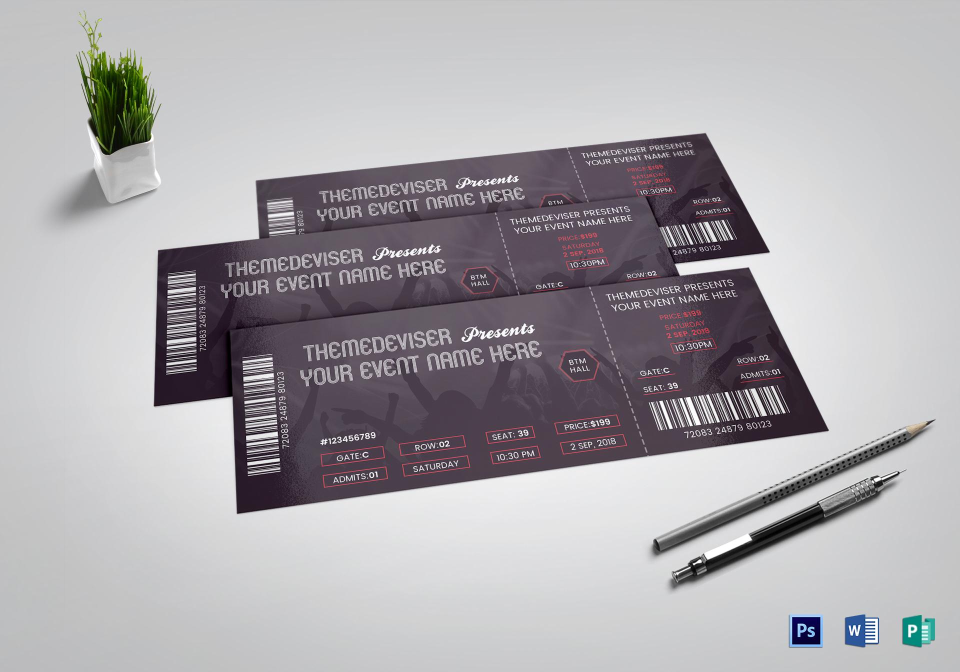 Sample Concert Ticket Template