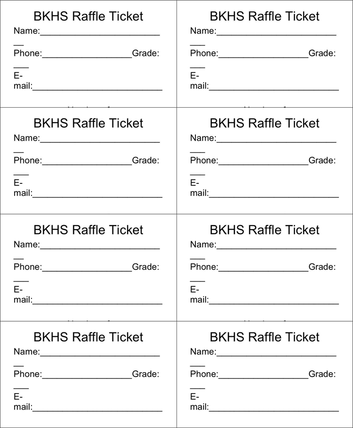 Sample Raffle Tickets Template
