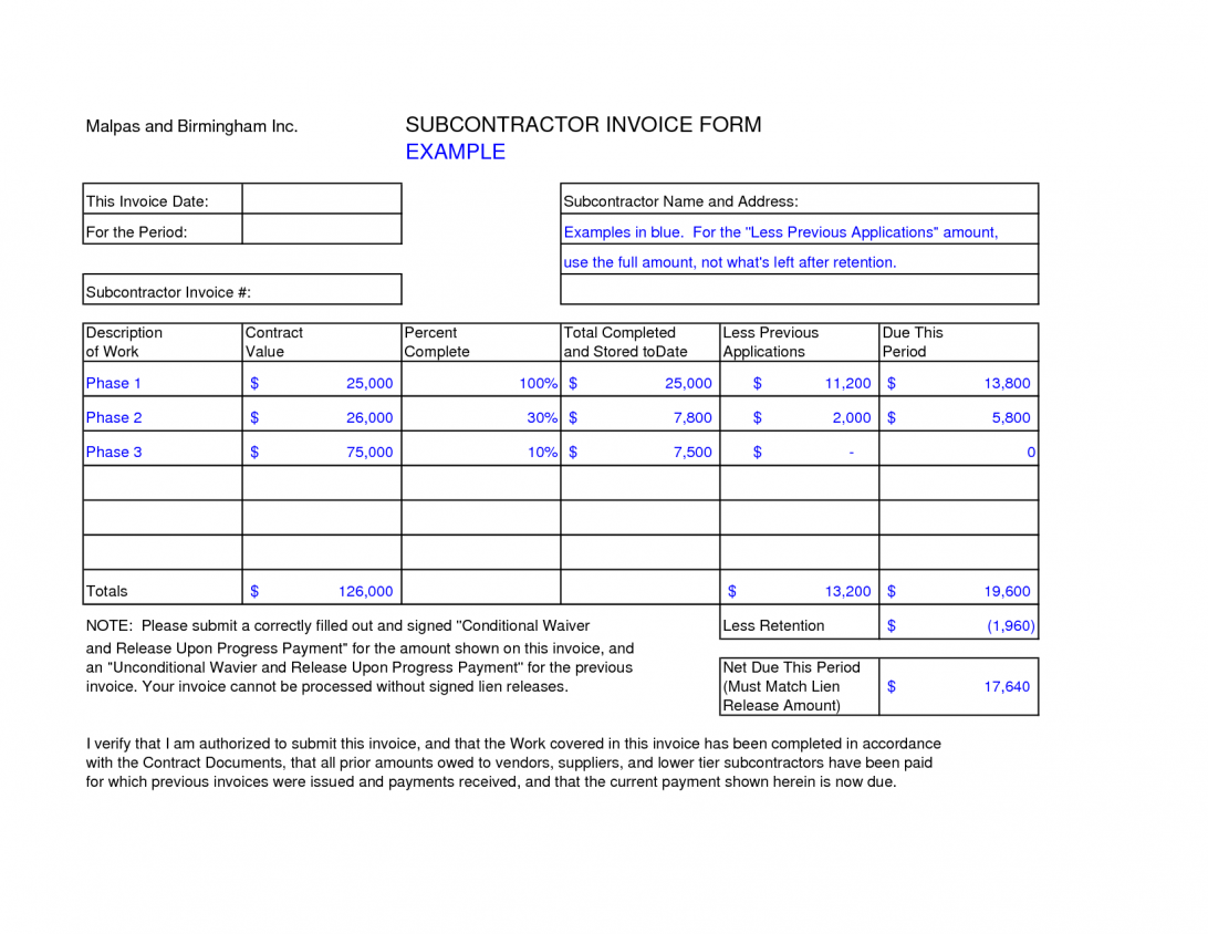 Self Employed Subcontractor Invoice Template