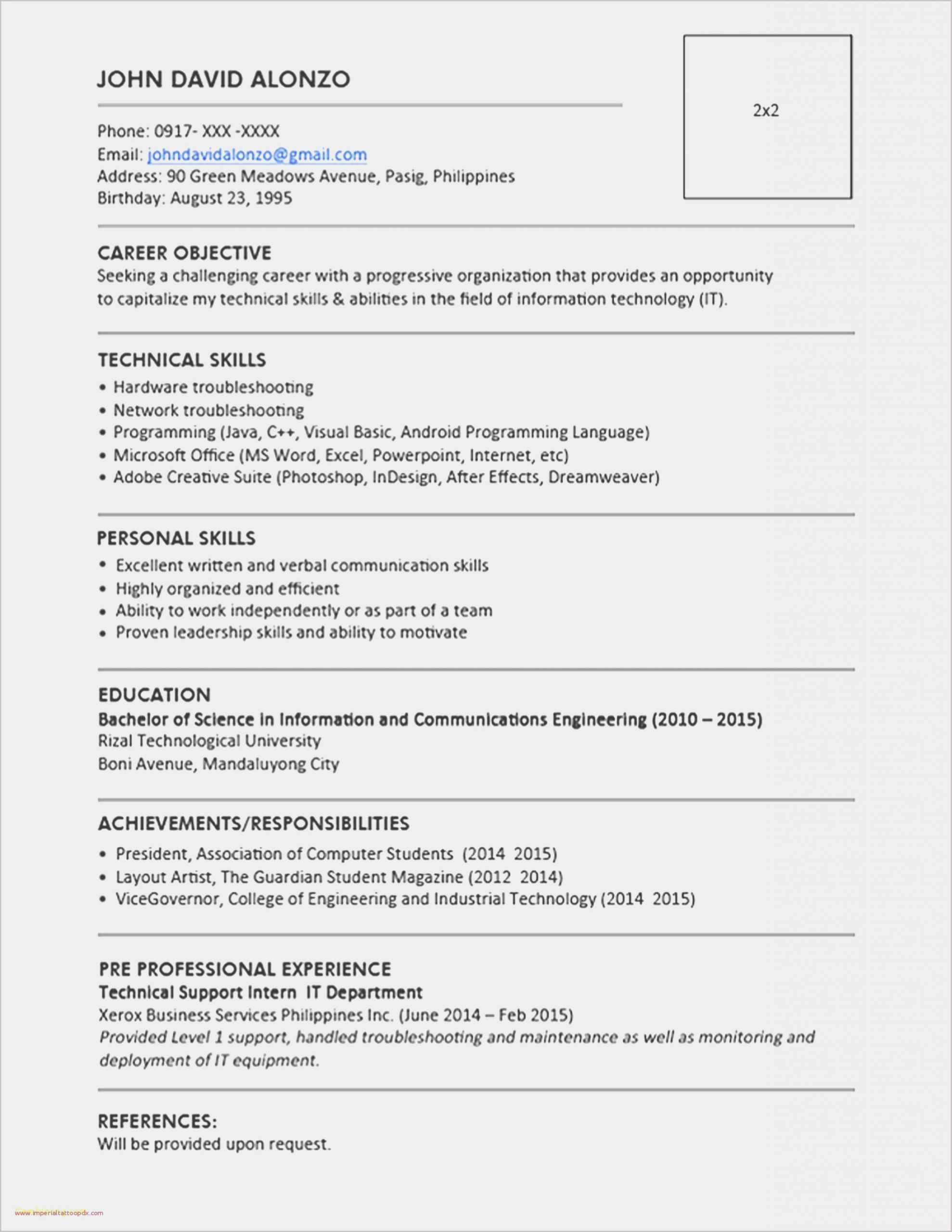 Simple Resume Templates Word Free Download