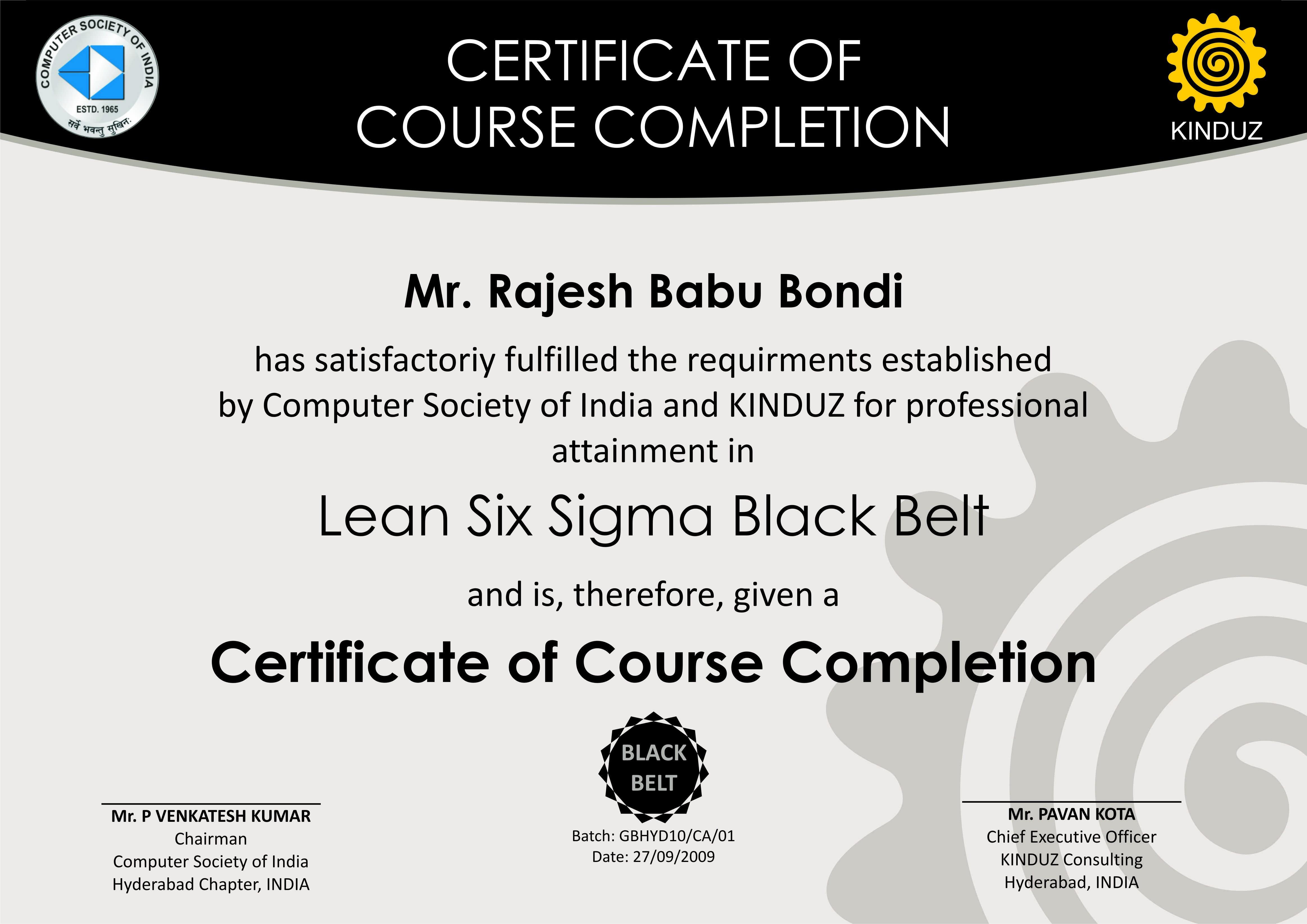 Six Sigma Black Belt Certificate Template