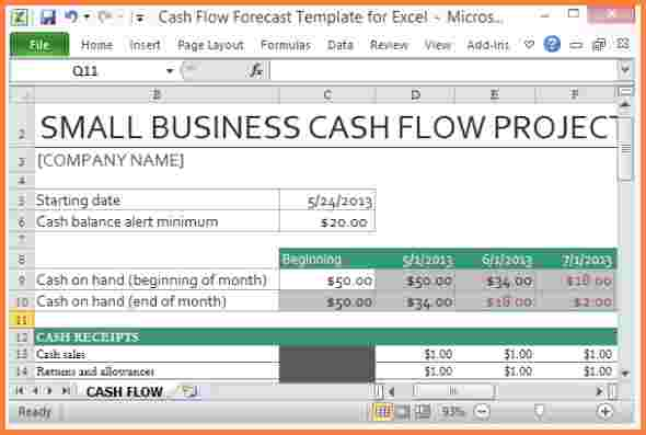 Small Business Monthly Cash Flow Statement Template