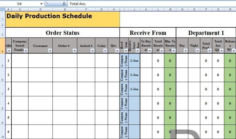 Spreadsheet Production Schedule Template