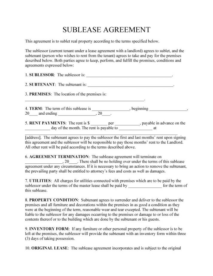 Subletting Lease Agreement Template