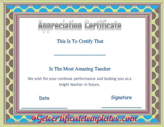 Teacher Appreciation Certificate Template