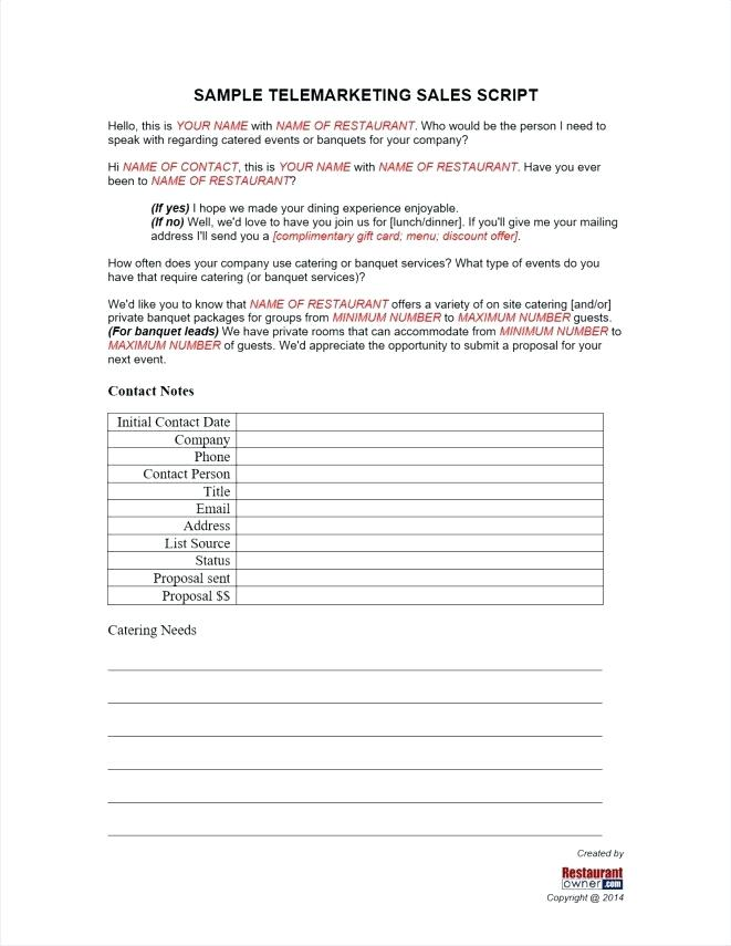 Telemarketing Sales Script Template