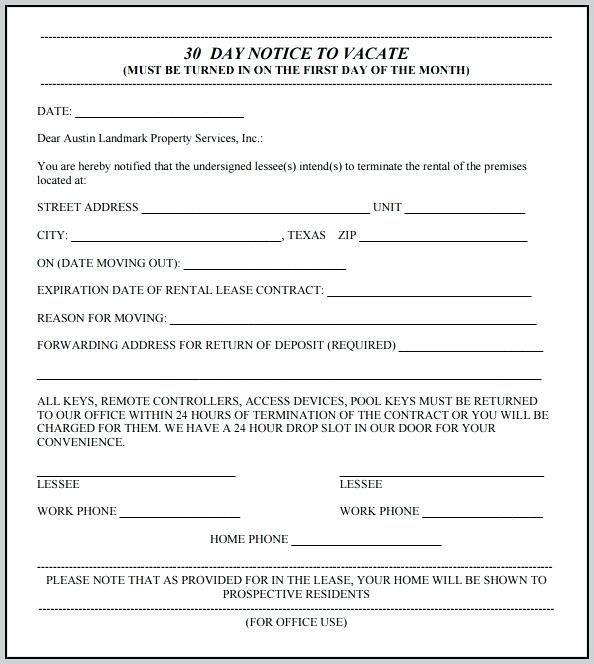 Template 30 Day Eviction Notice Florida