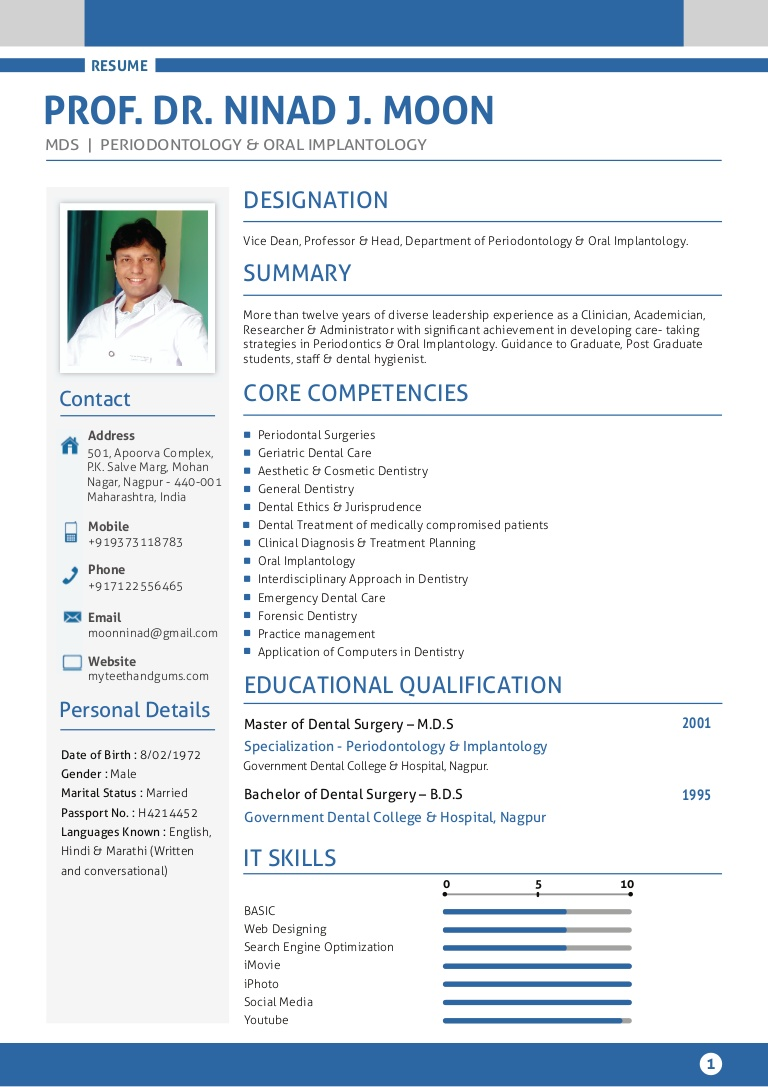 Template Best Dentist Resume