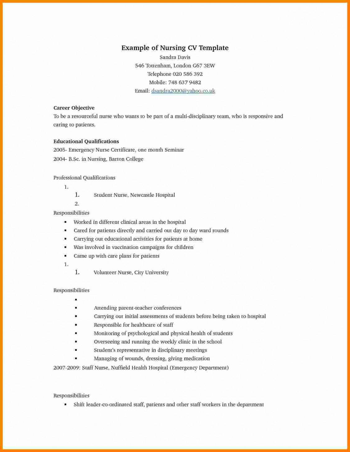 Template Curriculum Vitae Nursing Example