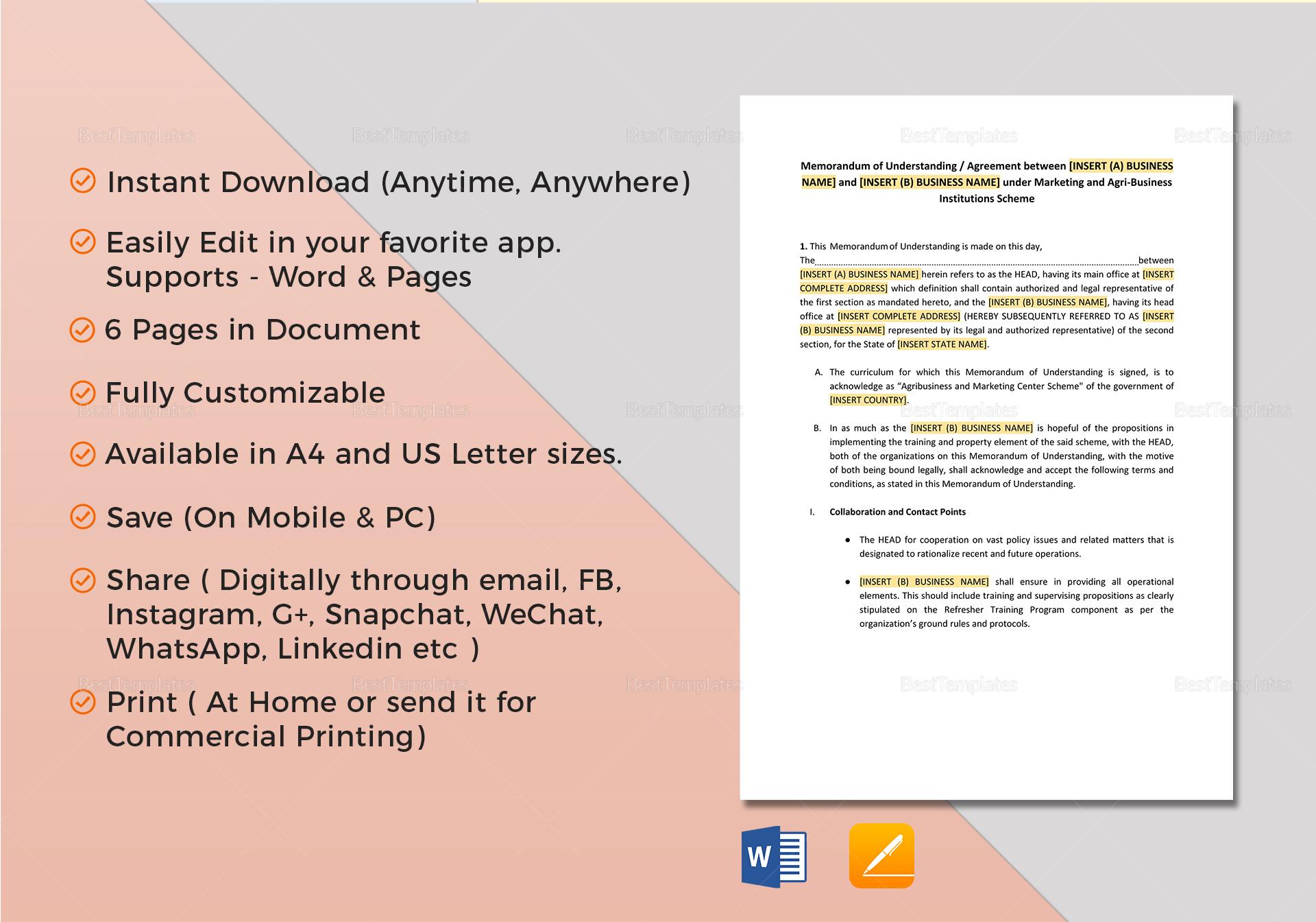 Template For Memorandum Of Understanding In Business
