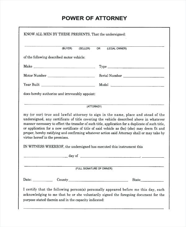 Template Free Printable General Power Of Attorney Form