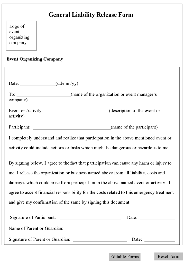 Template General Liability Waiver Form