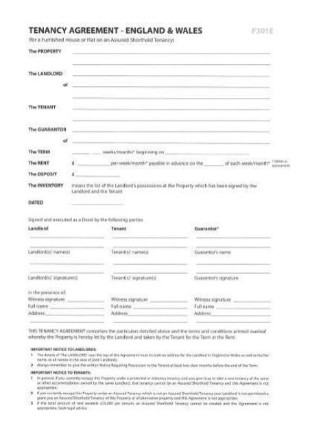 Tenancy Agreement Template England And Wales