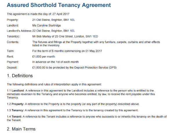 Tenancy Agreement Template Free