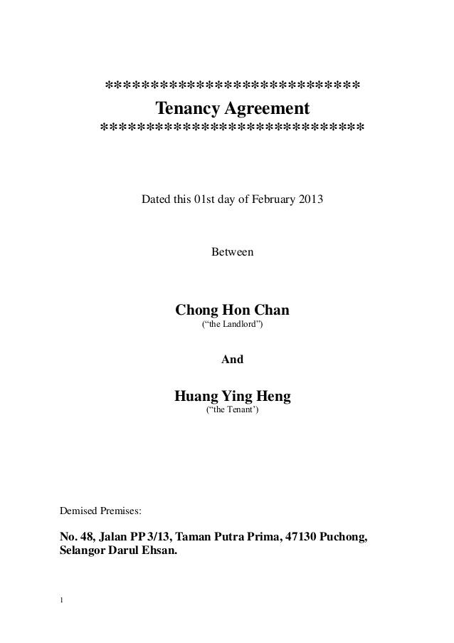 Tenancy Agreement Template Malaysia