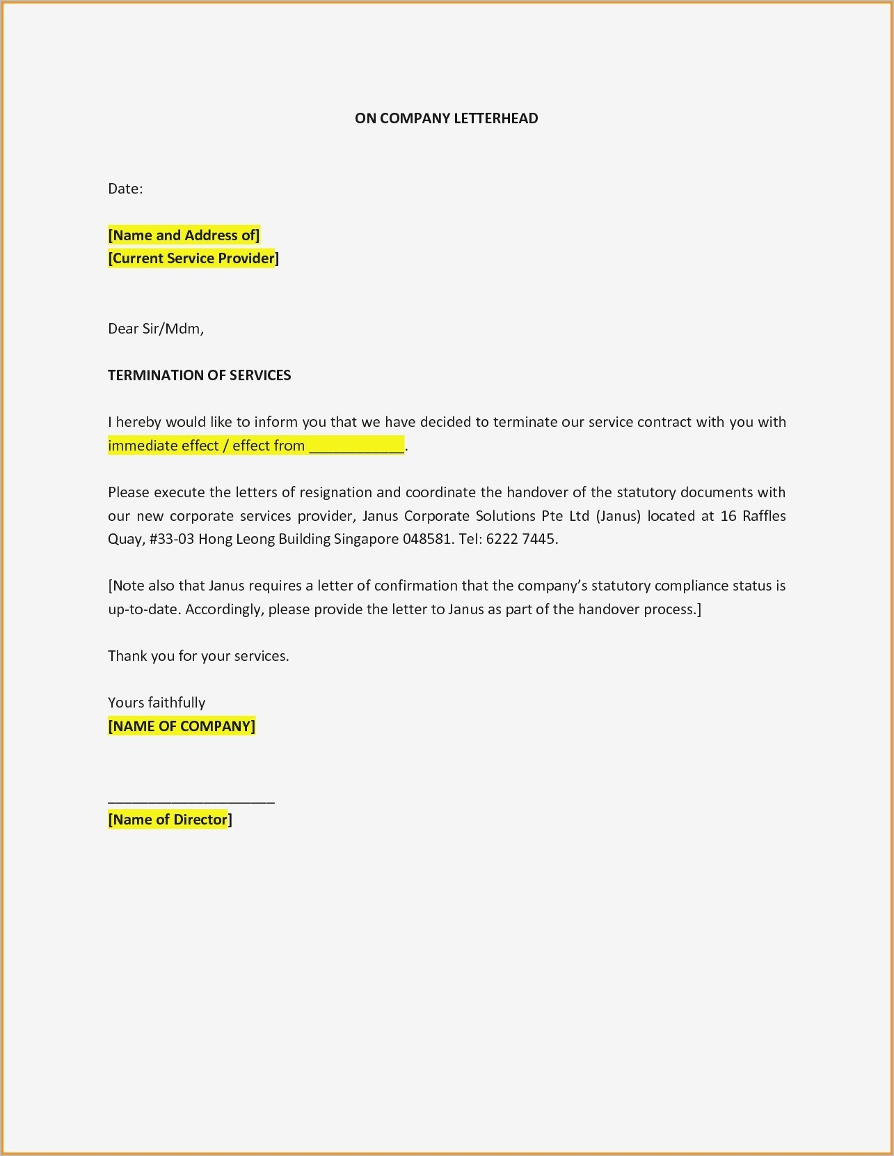Termination Service Contract Letter Template