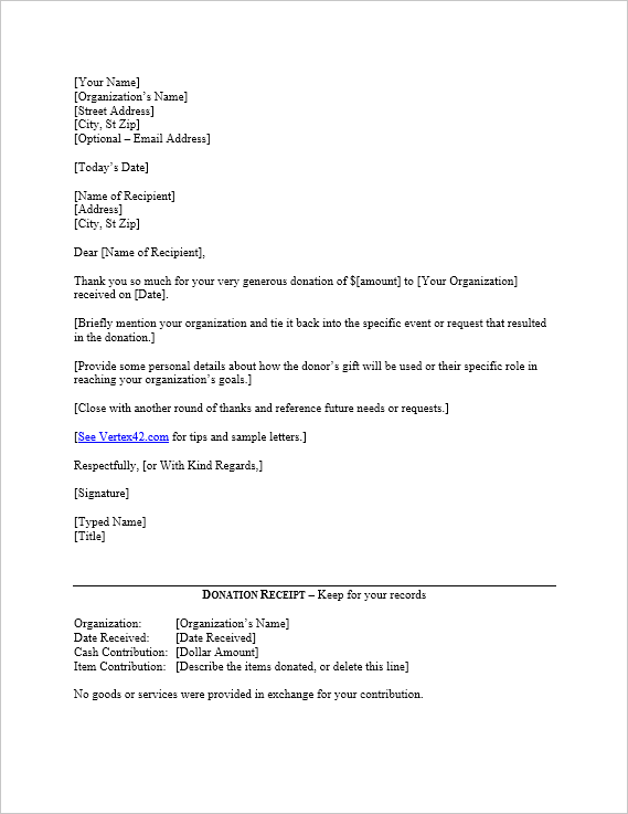 Thank You Donation Letter Template