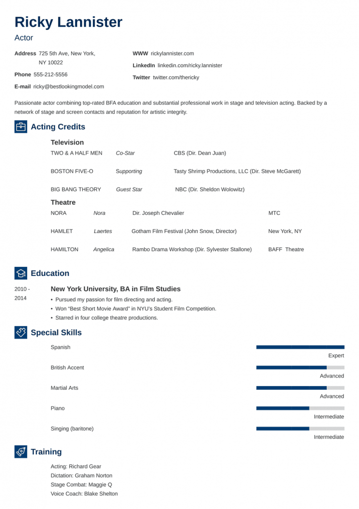 Theatre Audition Resume Template