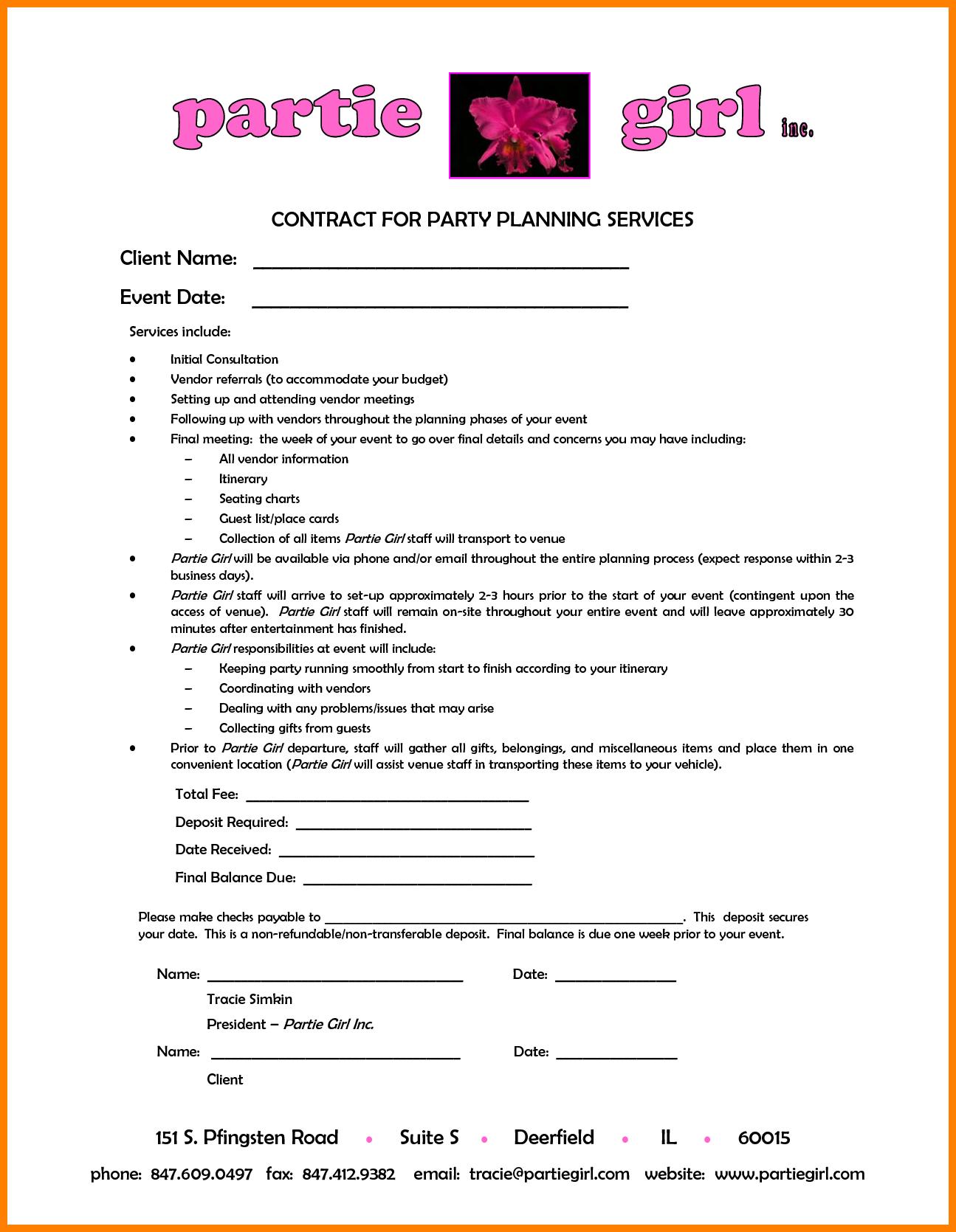 Wedding Coordinator Contract Template