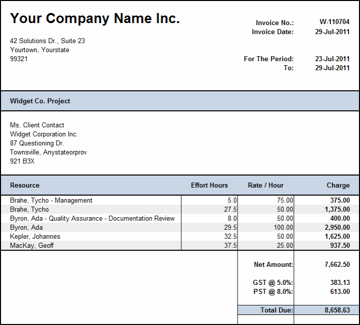 Weekly Invoice Template