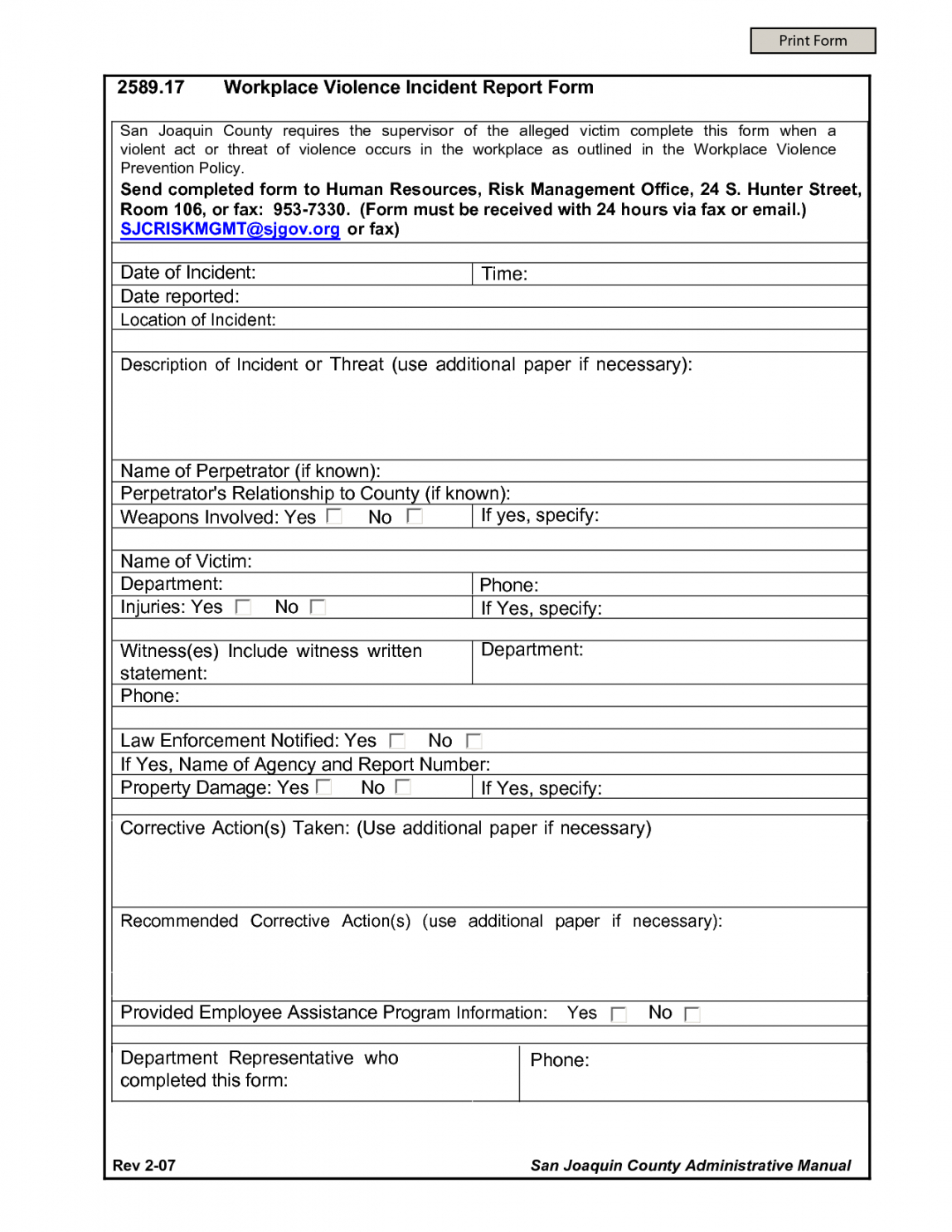 Free 016 Workplace Incident Report Form Template 190187 Accident Forms Accident Incident Report Form Template Sample
