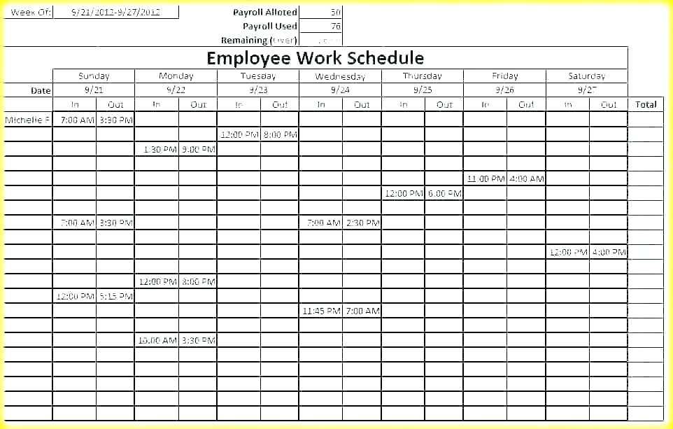 3 Shift Schedule Template Excel