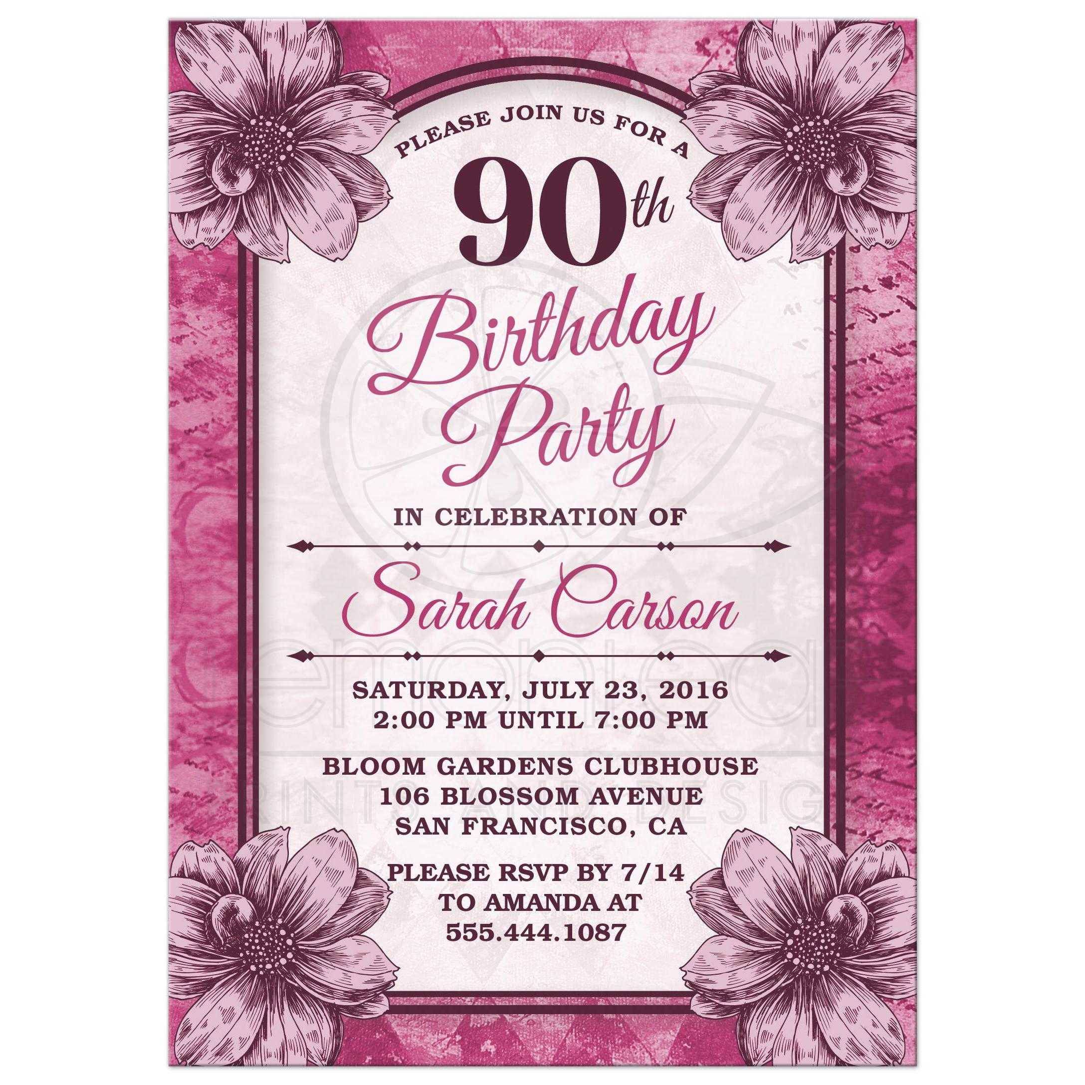 90th Birthday Party Invitations Templates Free