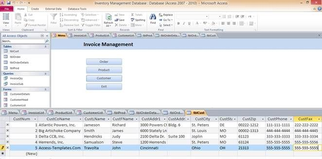 Access Database Templates Inventory Management