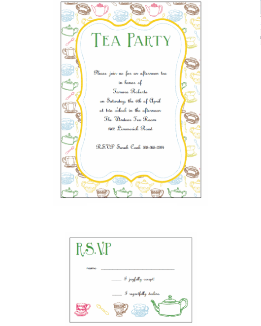 Afternoon Tea Tea Party Invitation Templates Free Download