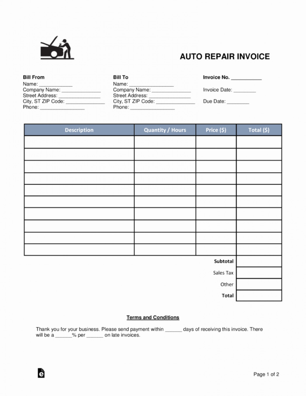 Auto Body Invoice Template