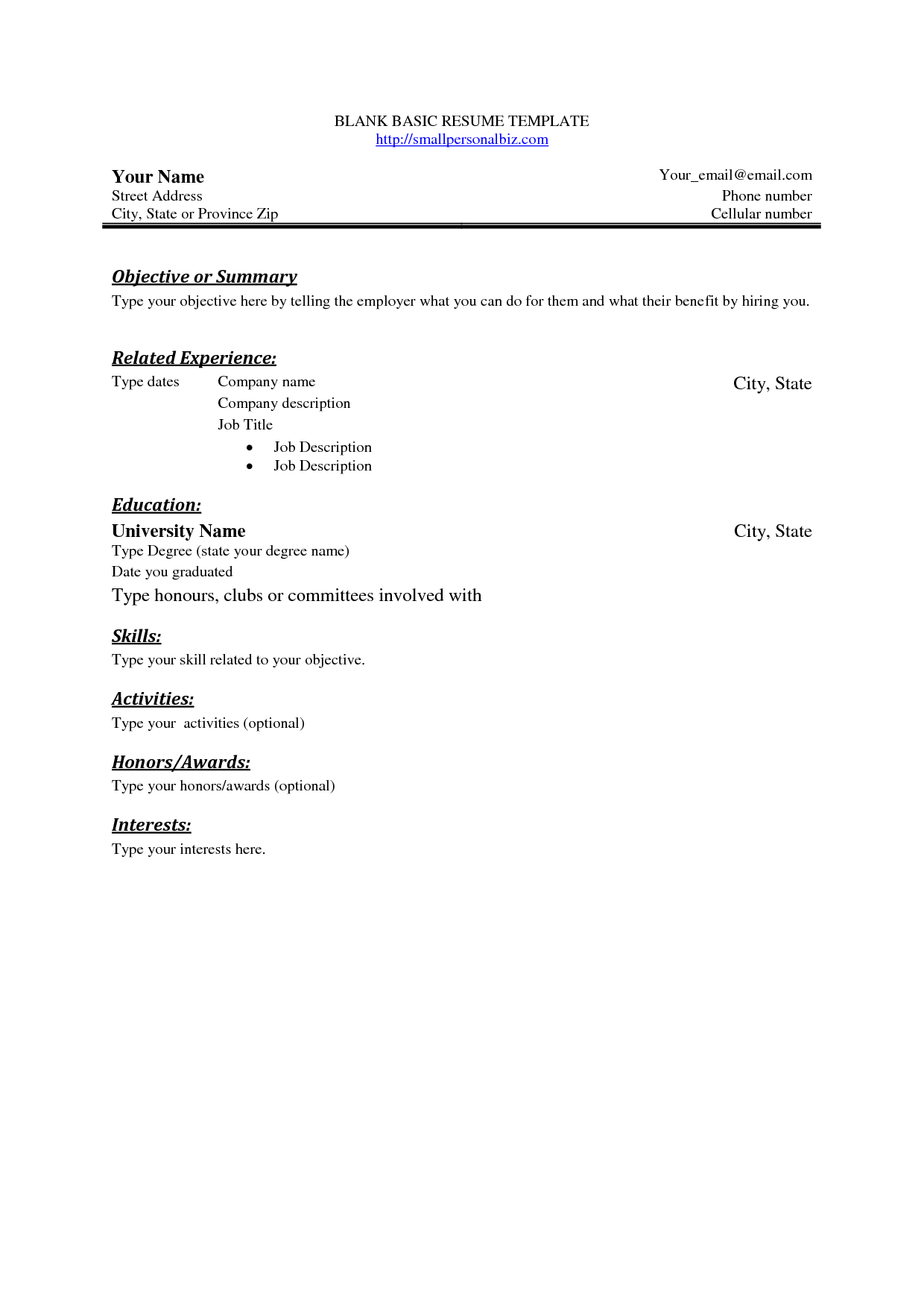 Basic Resume Template Blank