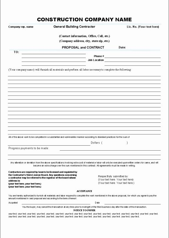 Bid Form Bid Contract Template