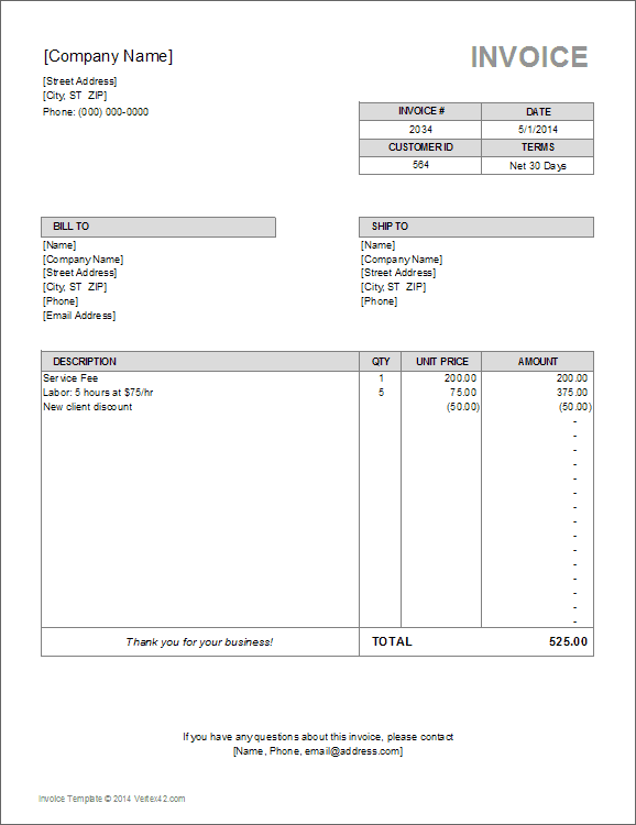 Billing Template Excel Free