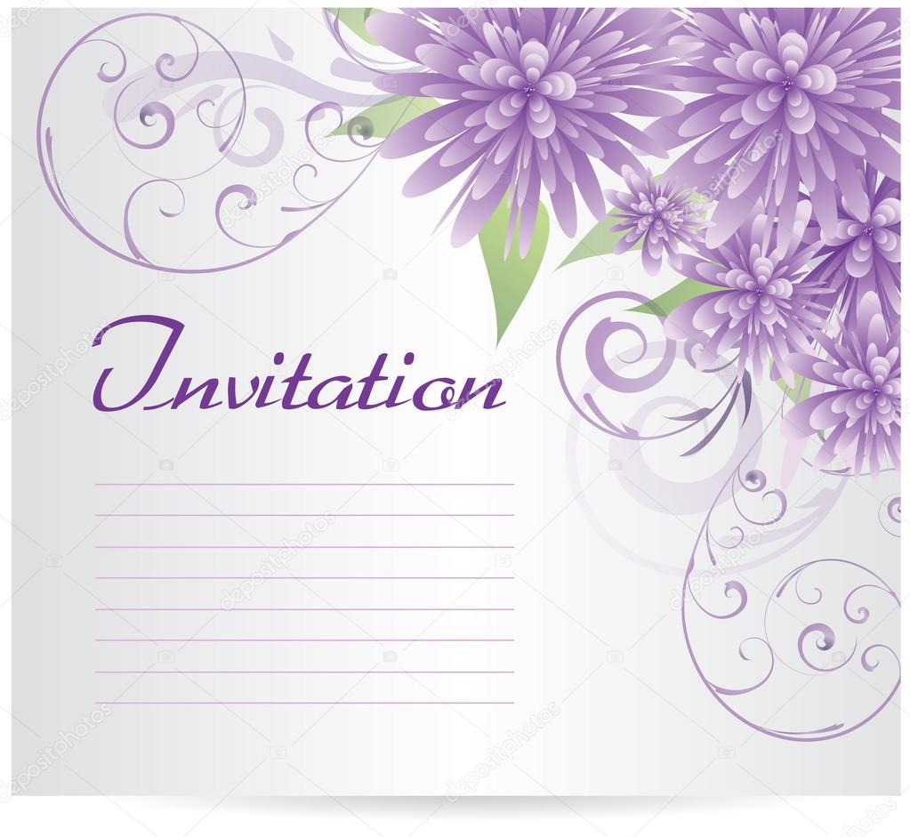 Blank Purple Flower Invitation Template