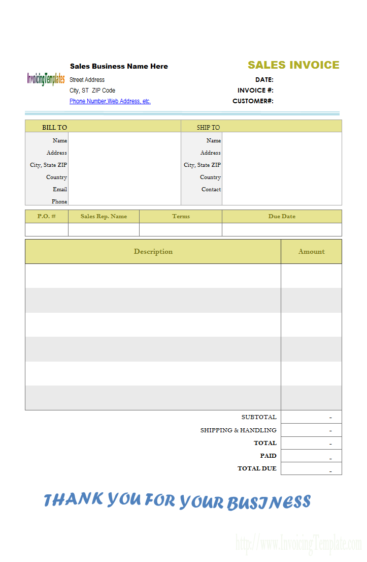 Blank Sales Invoice Template Free